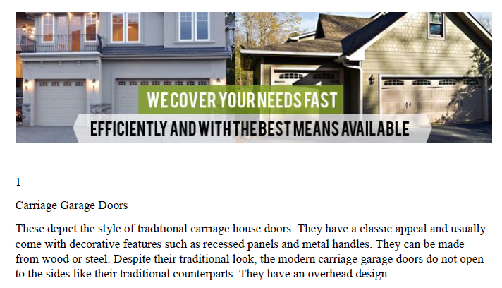 Glossary - Garage Door Repair Westchester